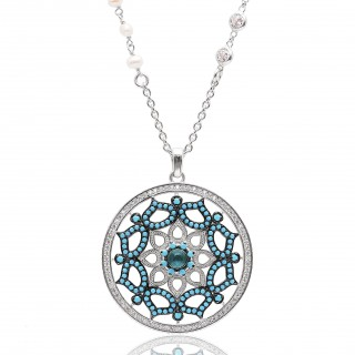Oriental and Traditional Necklace with white and turquoise pearls