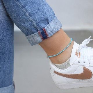Ankle bracelet with turquoise stones