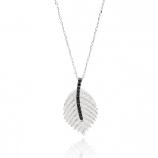 Silvery Necklace with leaf and black stones