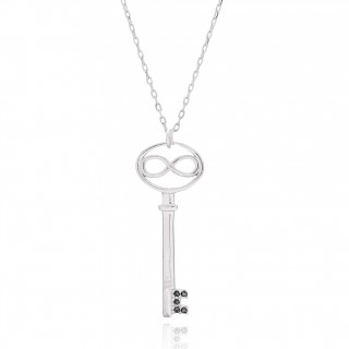 Silvery necklace with infinite key and black stones