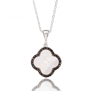 Silvery Necklace - Shiny white clover with black stones