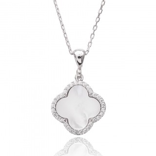 Silvery Necklace - White clover with stones