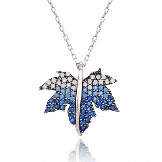 Silvery Necklace - White & blue turquoise autumn leaf