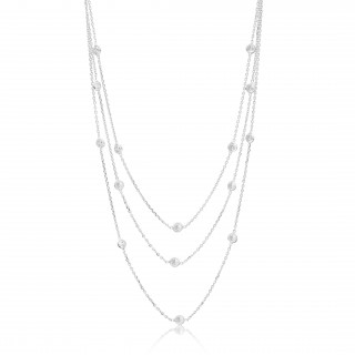 Multi-row silver necklace with stones