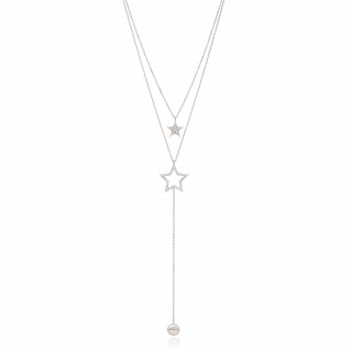 Multi-row necklace with two stars and pearl