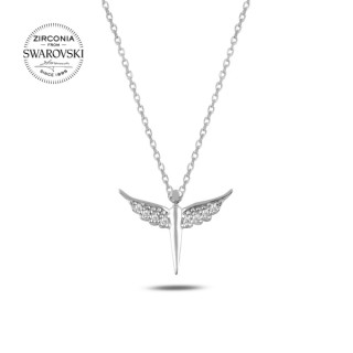 Silvery Necklace - Diamond angel with wings