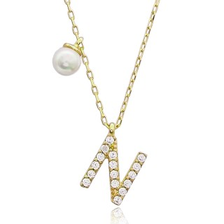 Silvery Necklace with white pearl and N letter diamond