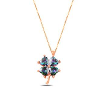 Gold Plated Necklace - Diamond Clover zirconia topaz