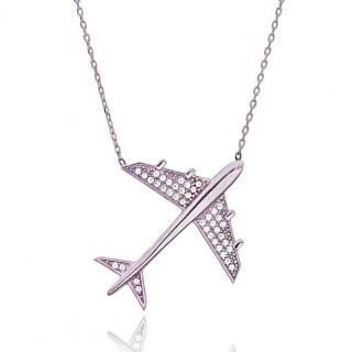 Necklace Silver diamond plane traveler