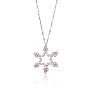 Silvery Necklace winter star with diamonds