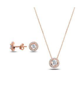 Ensemble collier + boucles d'oreille zirconia - Plaqué or rose