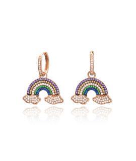 Earrings rings with rainbow...
