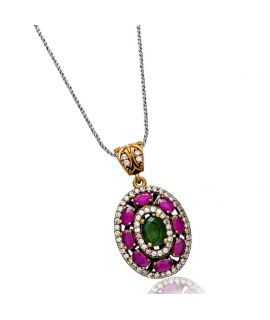 Necklace round pattern ruby...