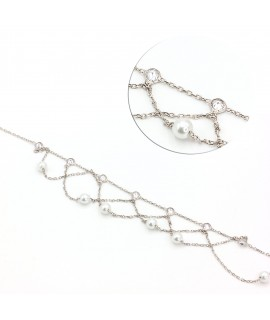 Silver ankle bracelet with...