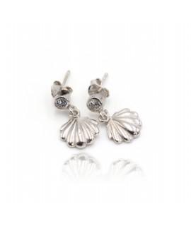 Boucles d'oreilles diamant avec son coquillage argent rhodié