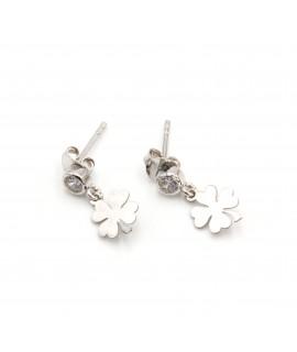 Boucles d'oreilles diamant avec sa trèfle plaquée or rose