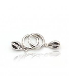 Earrings with silver seashell