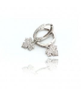 Boucles d'oreilles avec feuilles et diamants