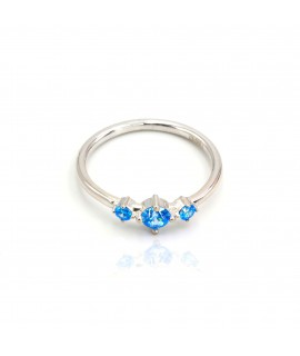 Silver ring with 3 blue sky...